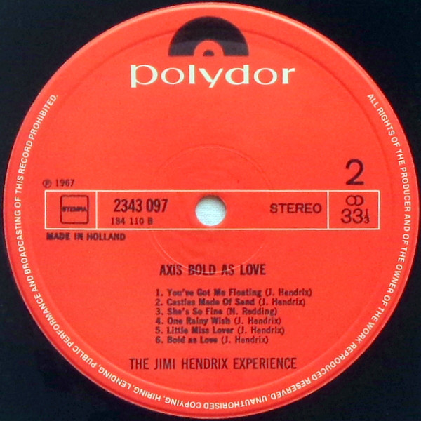 The Jimi Hendrix Experience - Axis: Bold As Love B
