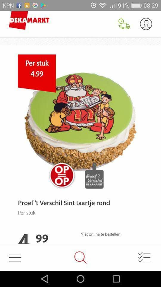 Alcohol in Sinterklaastaart voor kids (Foto: Screenshot)