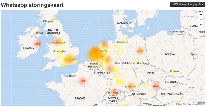 WhatsApp heeft weer eens storing (Foto: screenshot Allestoringen.nl )