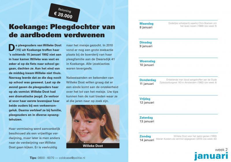 Wegens succes verlengd: de coldcasekalender (Foto: Politie.nl)