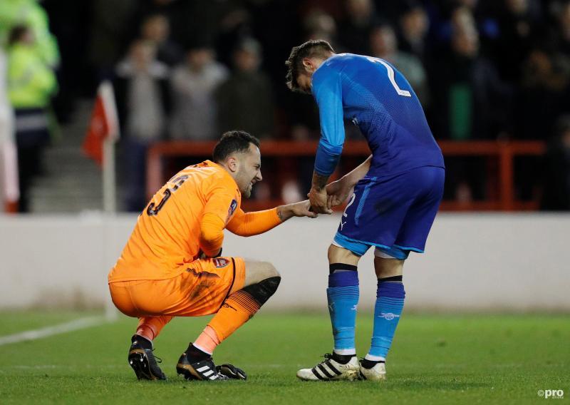 Wat zijn de Arsenal-spelers David Ospina en Mathieu Debuchy hier aan het doen tijdens hun FA Cup-wedstrijd tegen Nottingham Forest? (Pro Shots / Action Images)