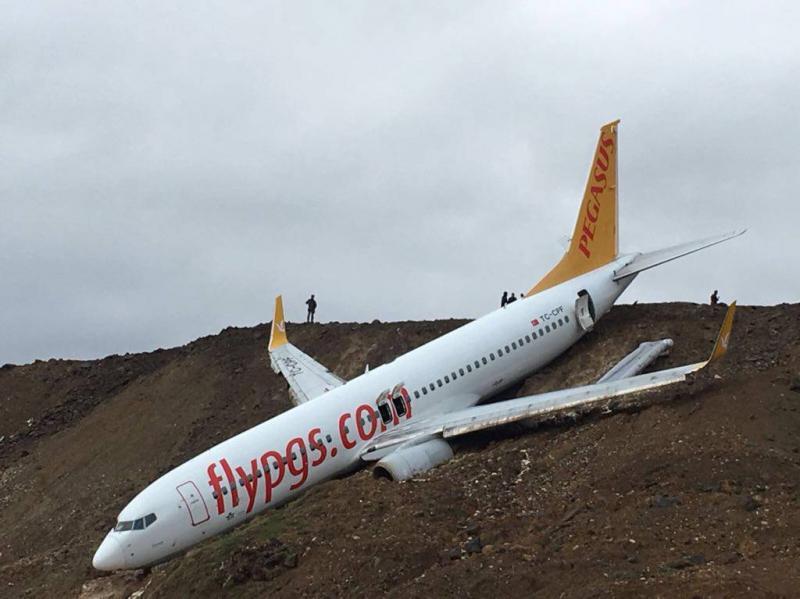 Vliegtuig schiet van startbaan en bijna in zee