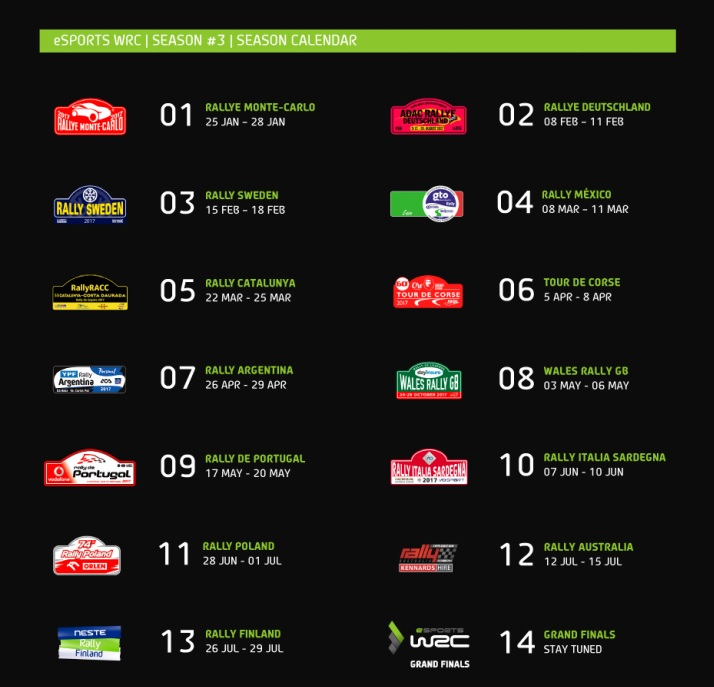 WRC Esports Season 3 Calendar (Foto: Bigben )