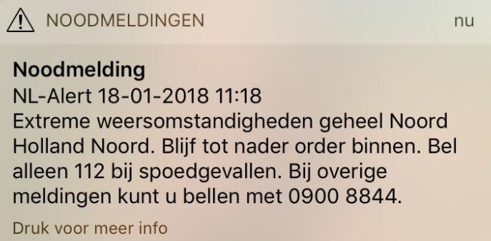 NL Alert verzonden in Noord Holland
