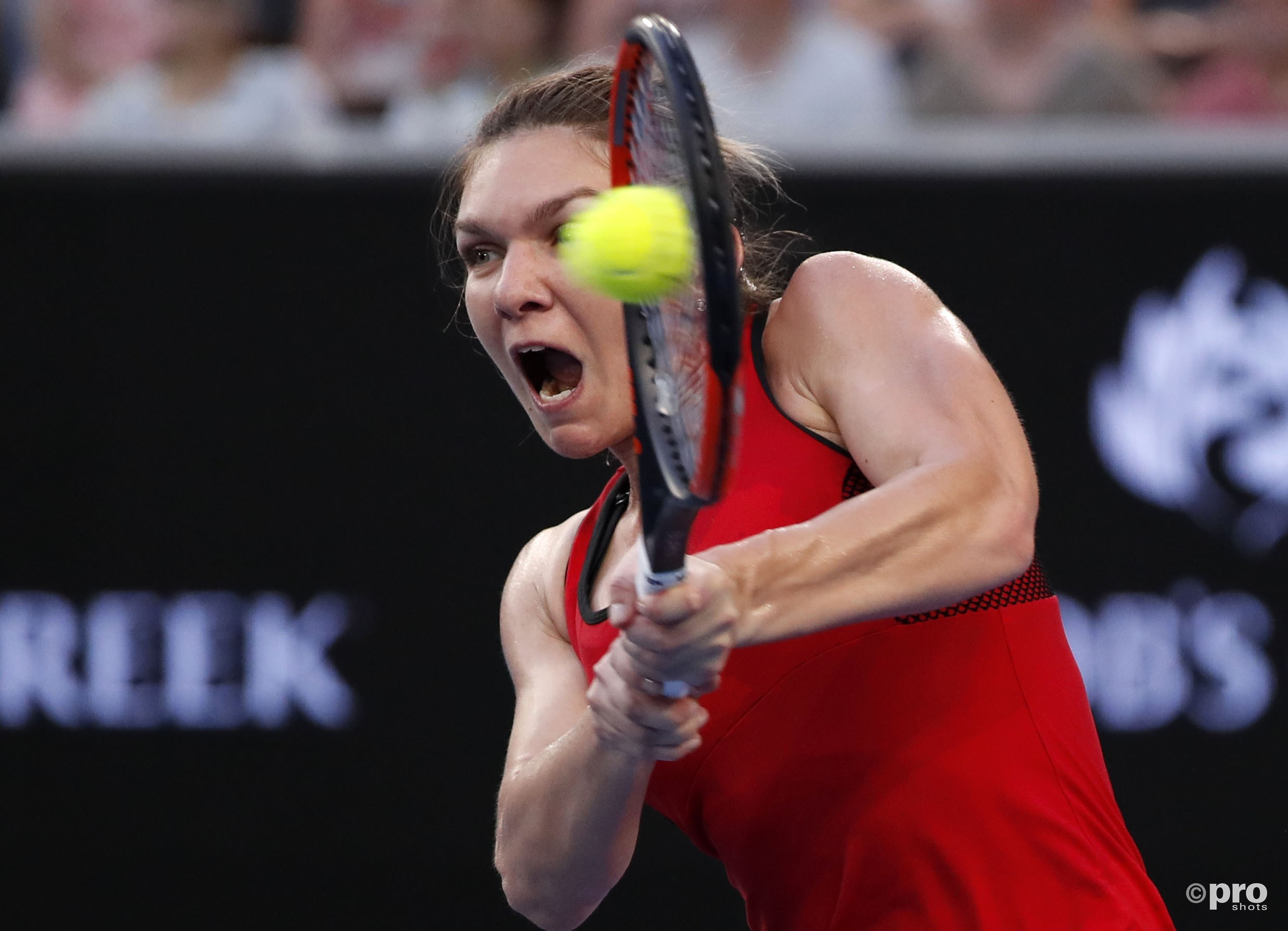 Halep ramt een bal richting Bouchard (Pro Shots/Action Images)