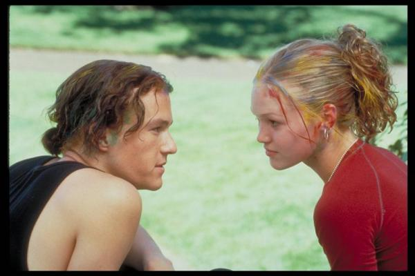 Heath Ledger en Julia Stiles in 10 Things I Hate About You (1999)