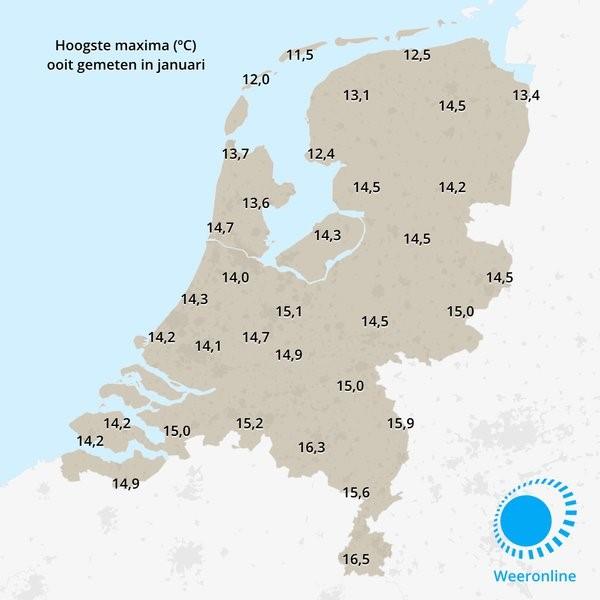 Nu al warmste 24 januari ooit (Foto: Weeronline.nl)