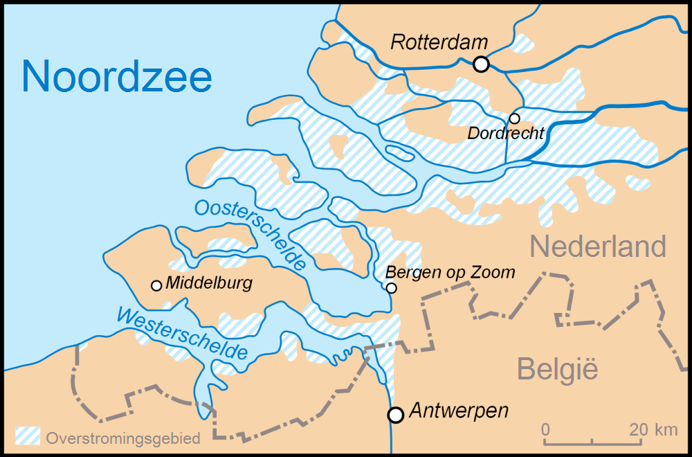 165.000 hectare ondergelopen gebied (Wikimedia Commons)