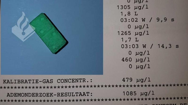 Dronken pool slikt xtc tijdens blaastest (Foto: Politie Gouda)