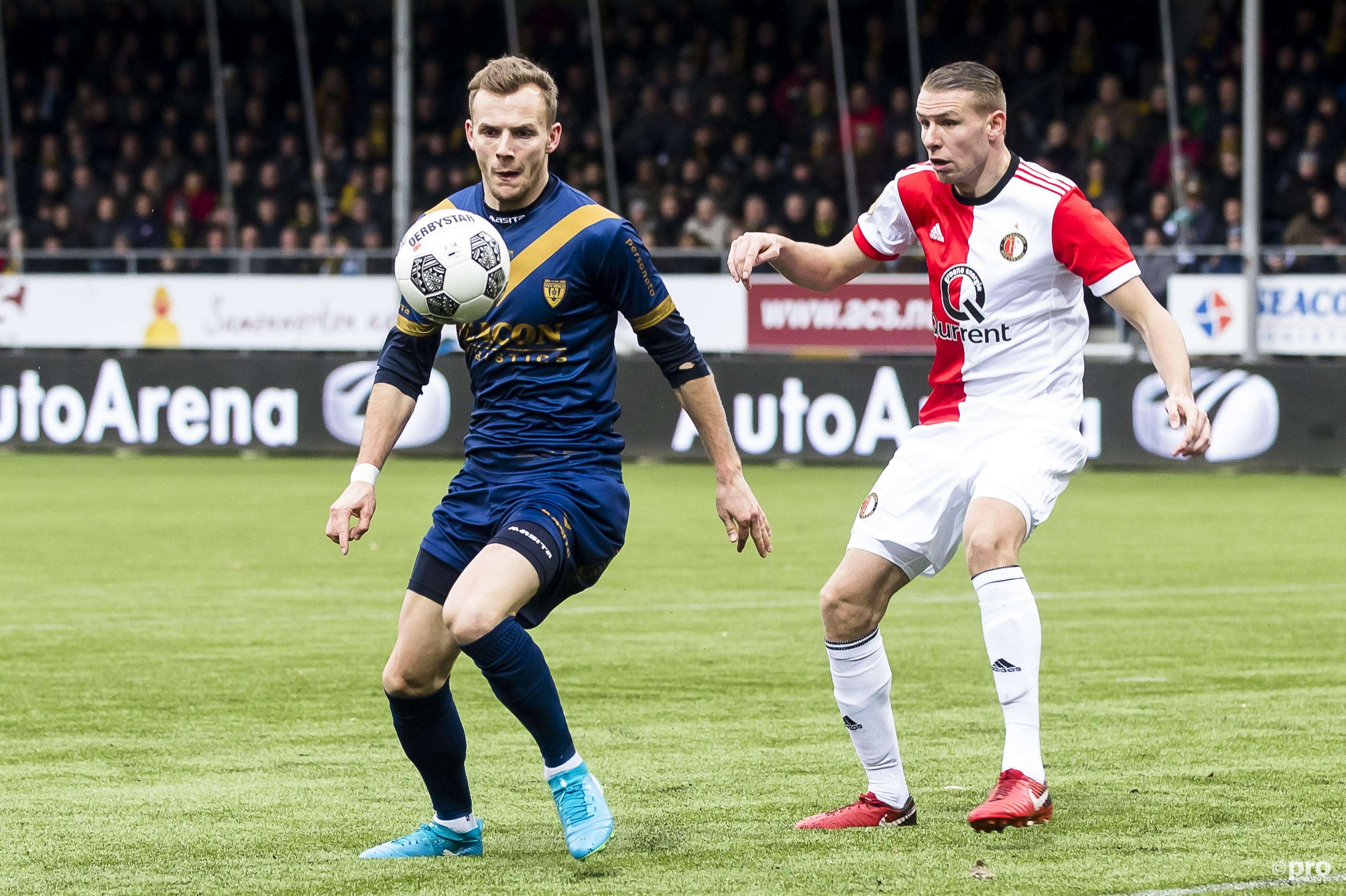VVV-Venlo speler Lennart Thy (L), Feyenoord-speler Sven van Beek (R). (PRO SHOTS/Joep Leenen)
