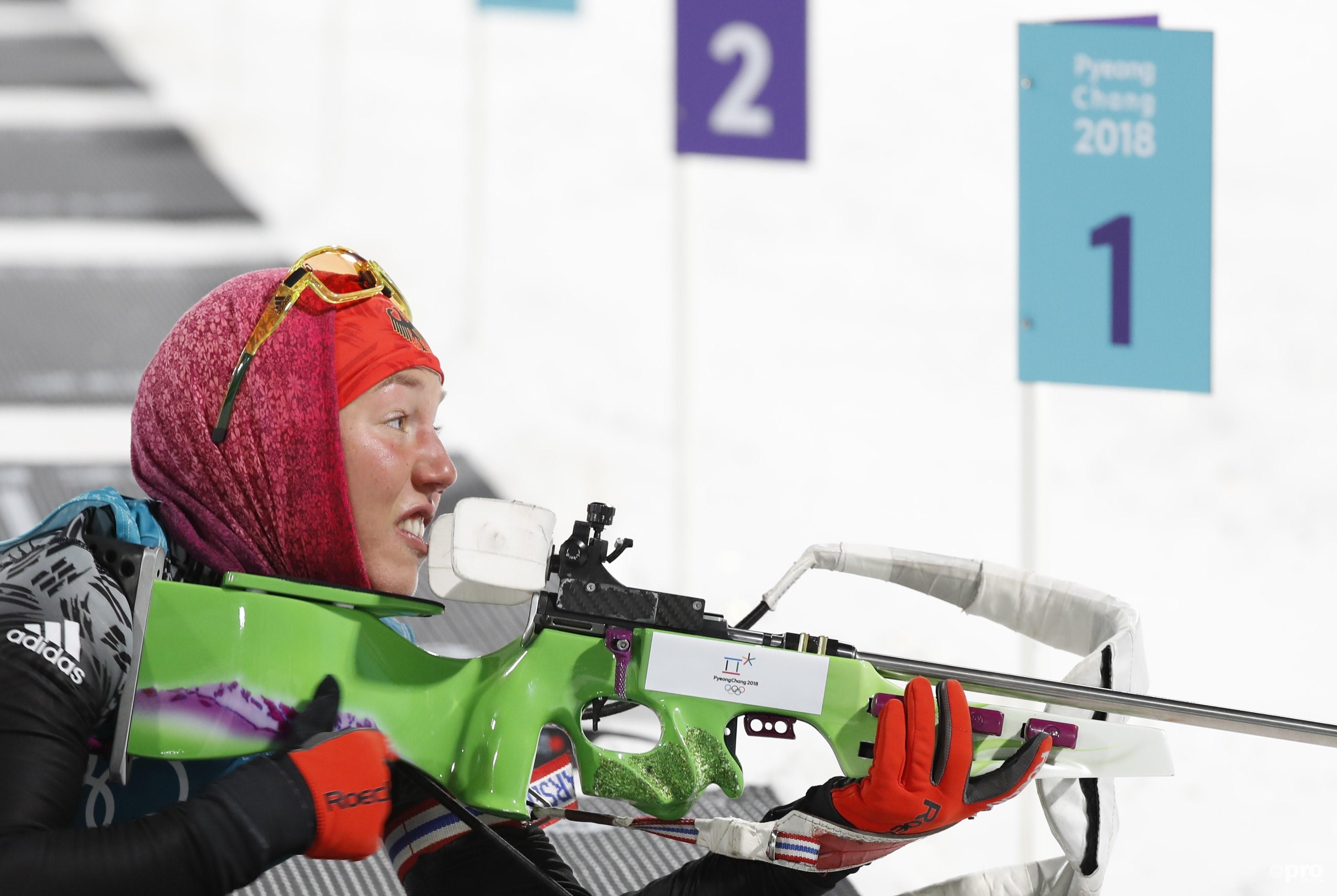 Dahlmeier op de schietbaan tijdens haar gouden achtervolging (Pro Shots/Action Images)