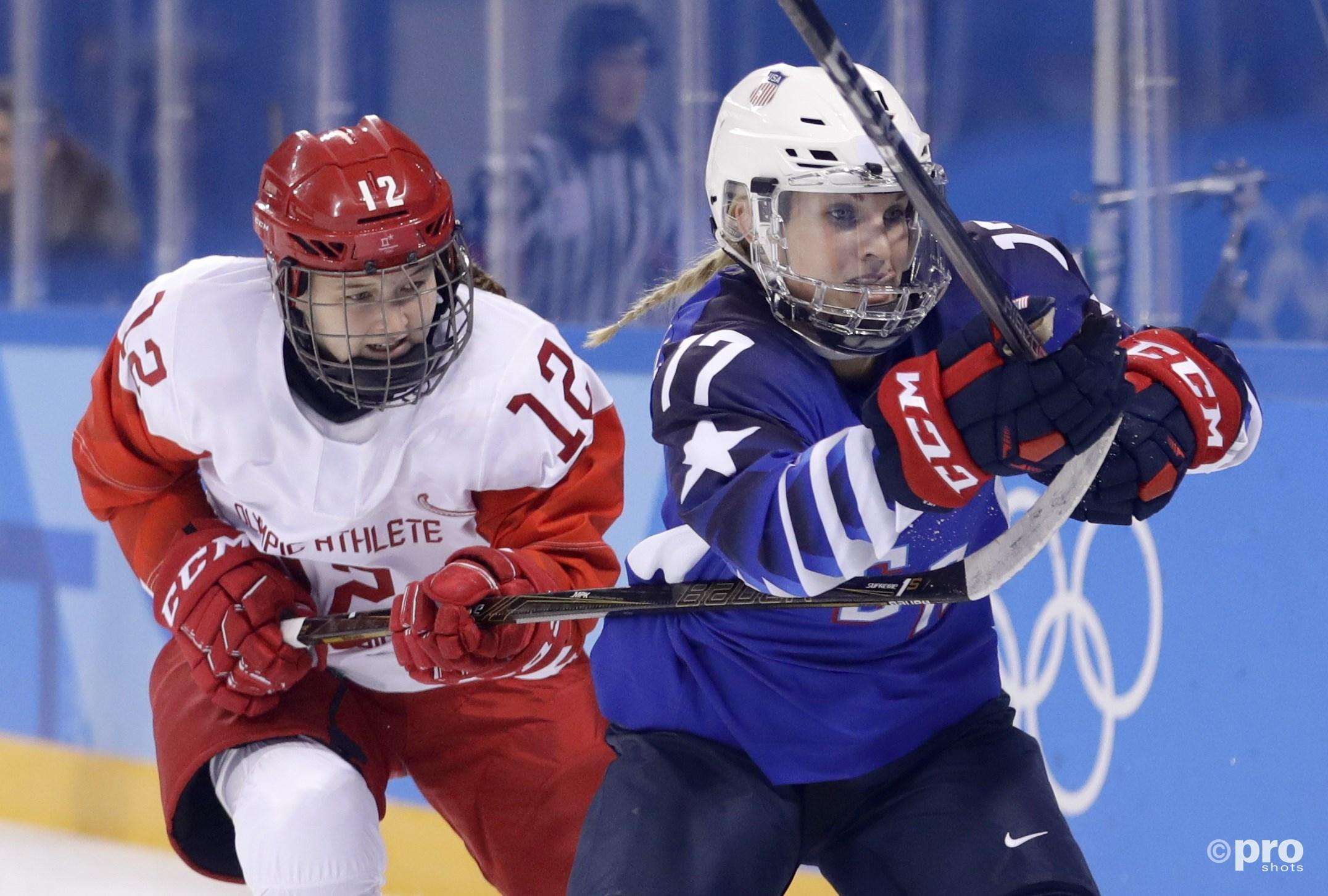 Jocelyne Lamoureux-Davidson zette een nieuw olympisch record neer met twee razendsnelle goals (Pro Shots/Action Images)