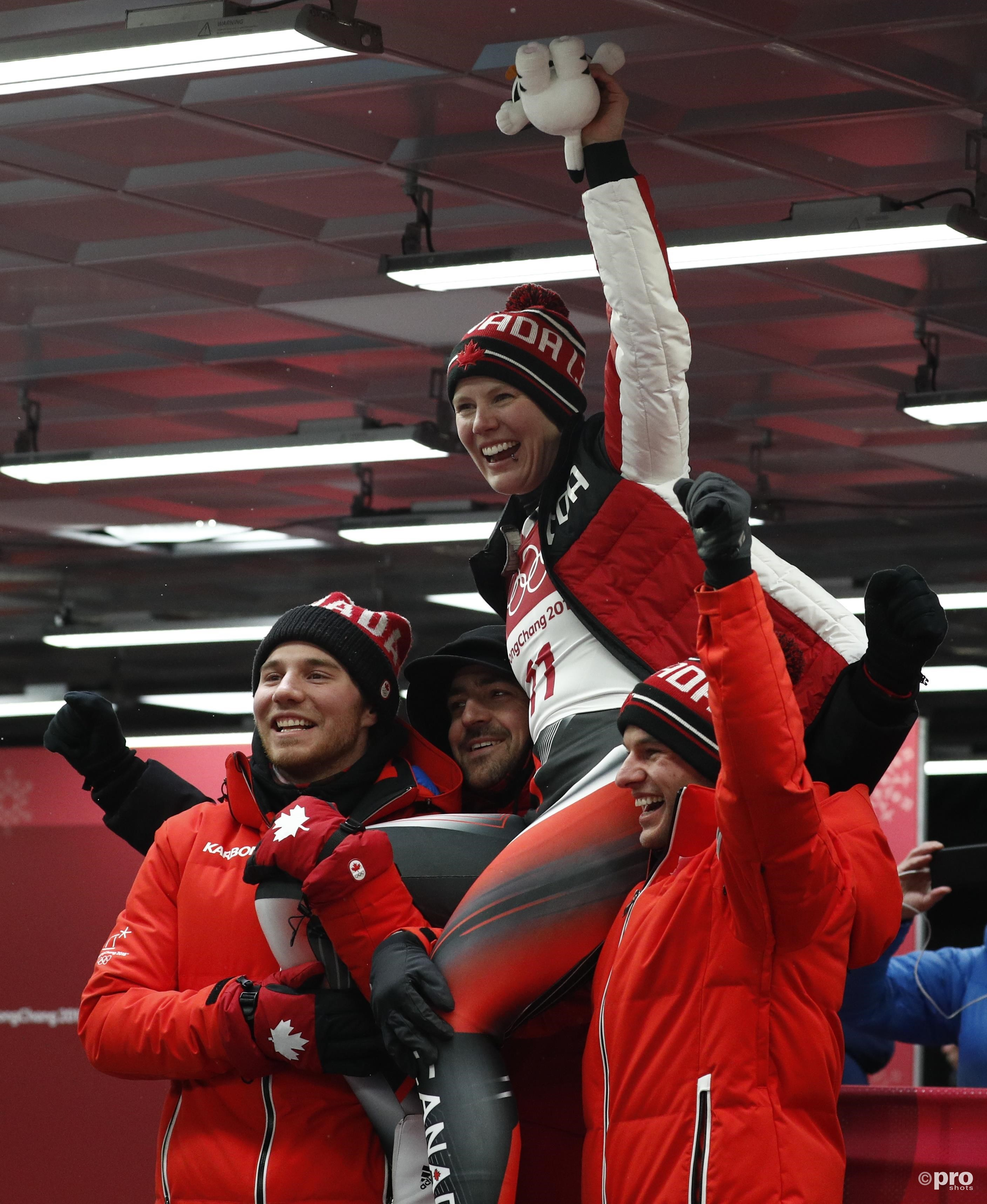 De Duitse dames pakten goud en zilver, maar met de eerste Canadese rodelmedaille ooit kon vooral in het team van Gough de champagne ontkurkt worden (Pro Shots/Action Images)