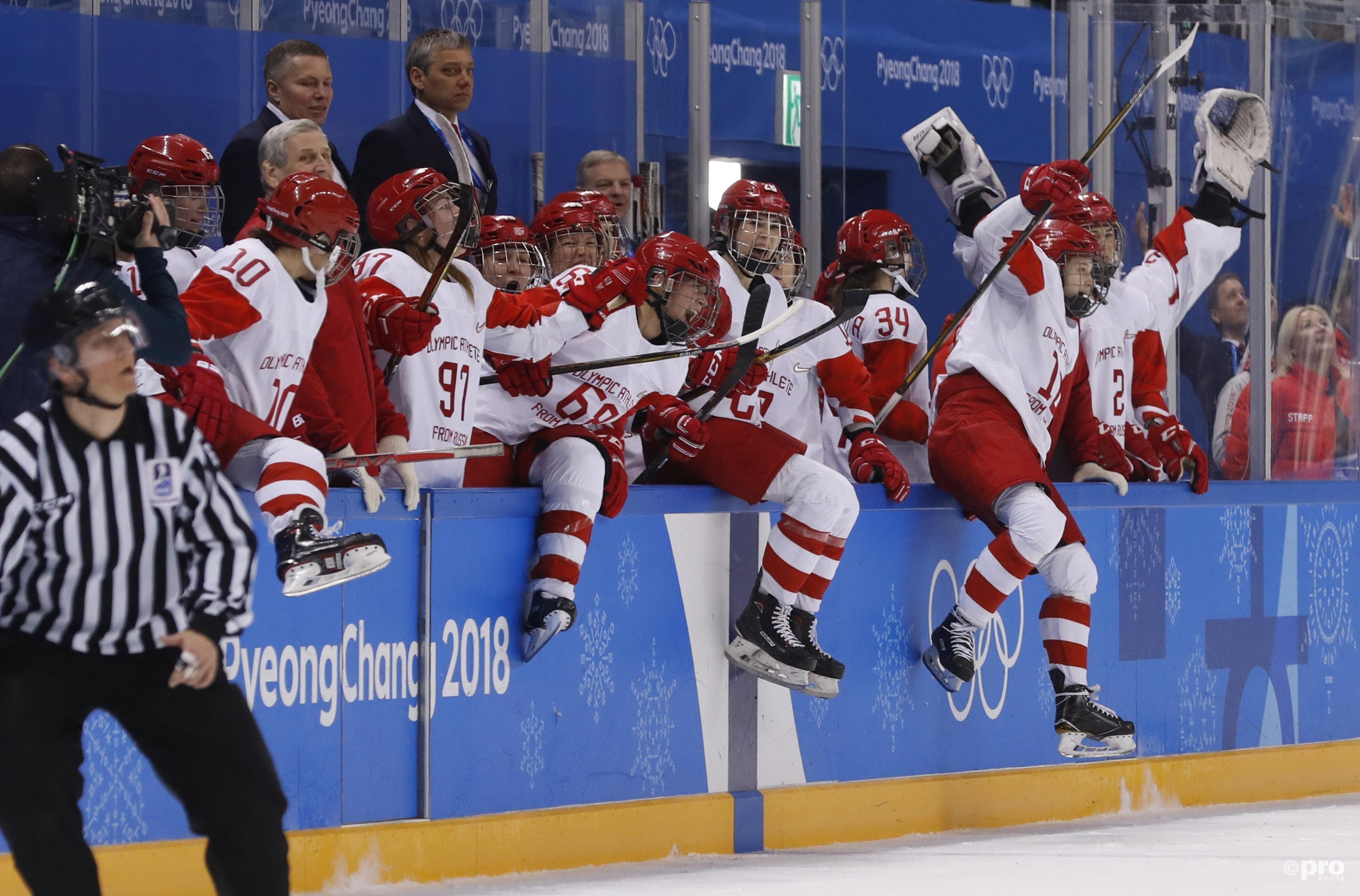 De Russische speelsters vieren feest na het bereiken van de halve finales (Pro Shots/Action Images)