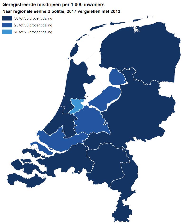Regionale verschillen in daling criminaliteit (Foto: Centraal Bureau voor de Statistiek)