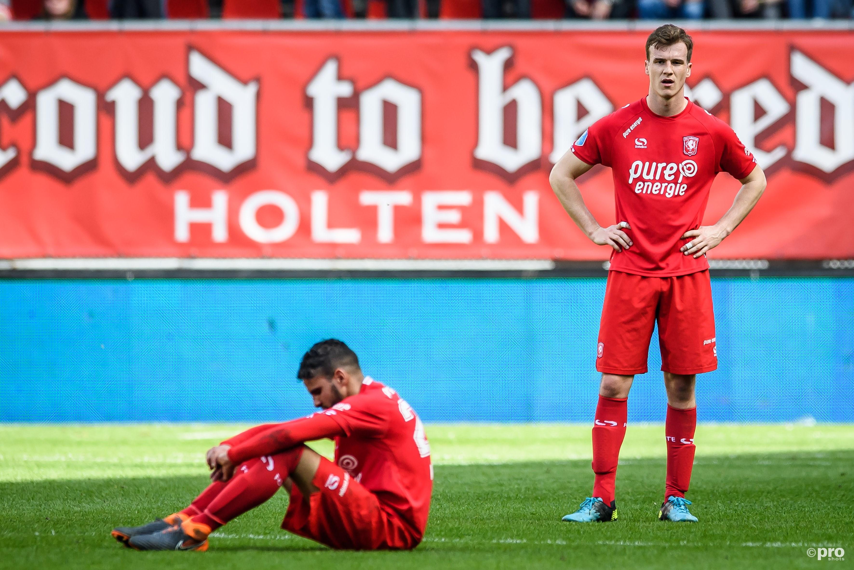 Ongeloof bij (L-R) FC Twente speler Adam Maher en FC Twente speler Peet Bijen na afloop. (PRO SHOTS/Lars Smook)