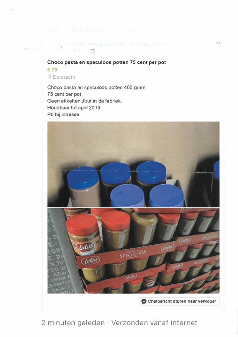 NVWA waarschuwt voor gestolen pindakaas en speculoos (Foto: NVWA)