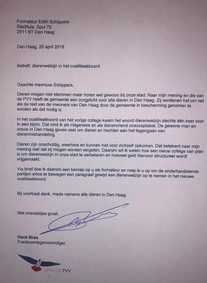 Henk Bres stuurt brief naar formateur Edith Schippers