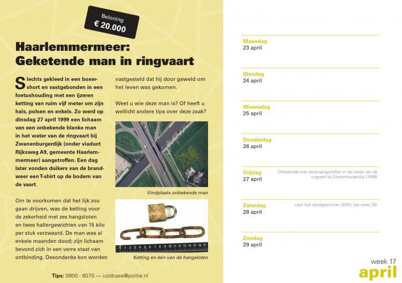 Coldcase zaak van de week #Week17 (Foto: Coldcasekalender Politie.nl)