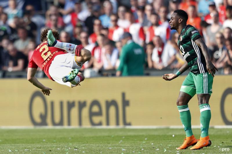 We troffen AZ-speler Jonas Svensson en Feyenoord-speler Ridgeciano Haps op een hele bijzondere manier aan tijdens de finale van de KNVB Beker, wat is hier gaande? (Pro Shots / Stanley Gontha)