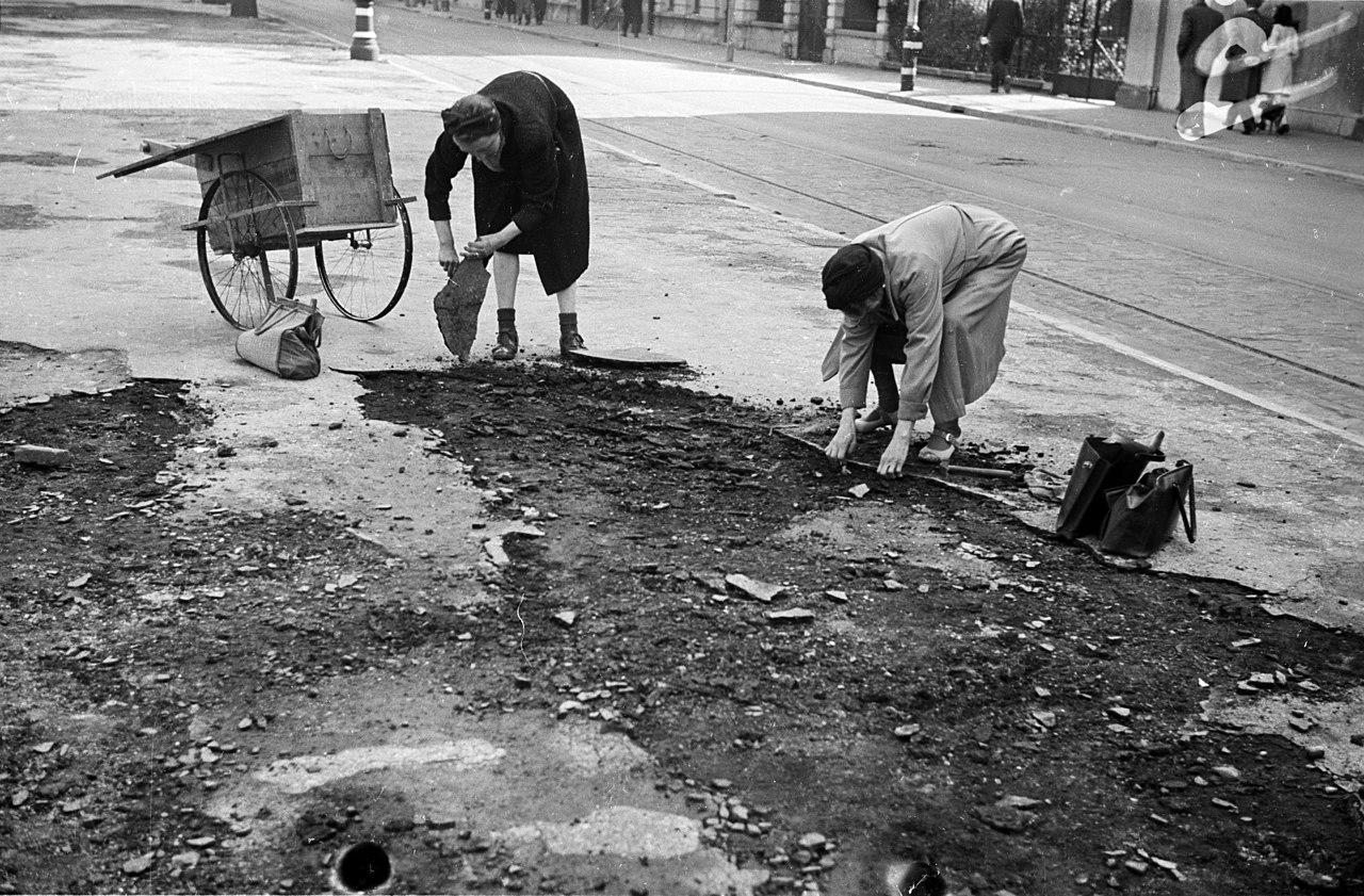Op de middenberm van de Conradkade zoeken mensen naar brandstof wegens de schaarste , ontstaan door de landelijke spoorwegstaking.
