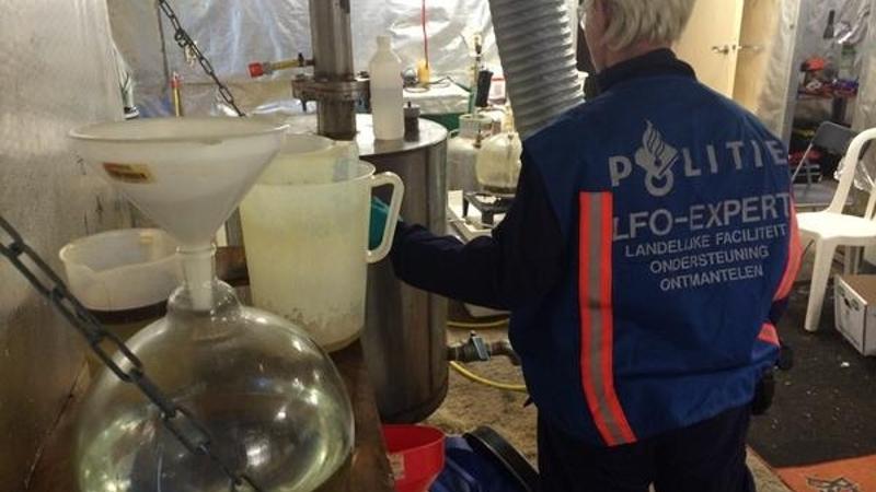 Drugslab ontdekt na brand in loods (Foto: Stockfoto politie.nl)