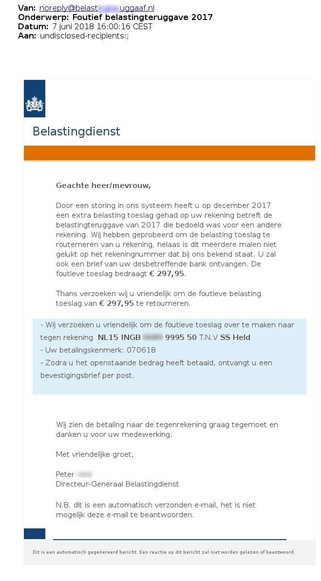 Valse email belastingdienst in omloop (Foto: Fraudehelpdesk.nl)