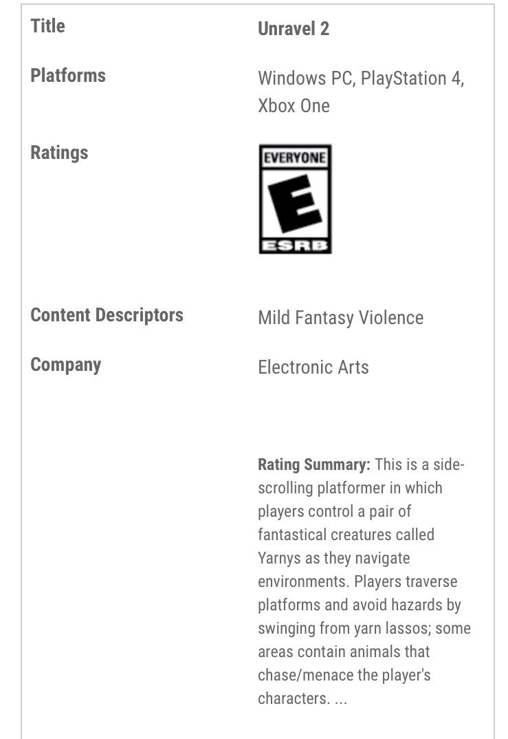 Unravel 2 ESRB Rating