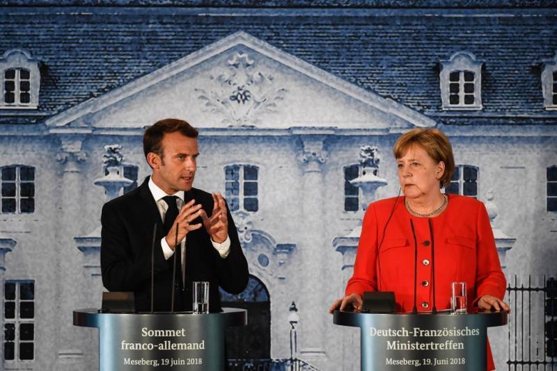 Merkel en Macron eens over eurozonebegroting
