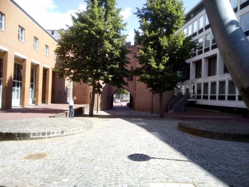 De Sabelspoort in Arnhem met een paar leuke bomen ervoor in het zonnetje (Foto: qltel)