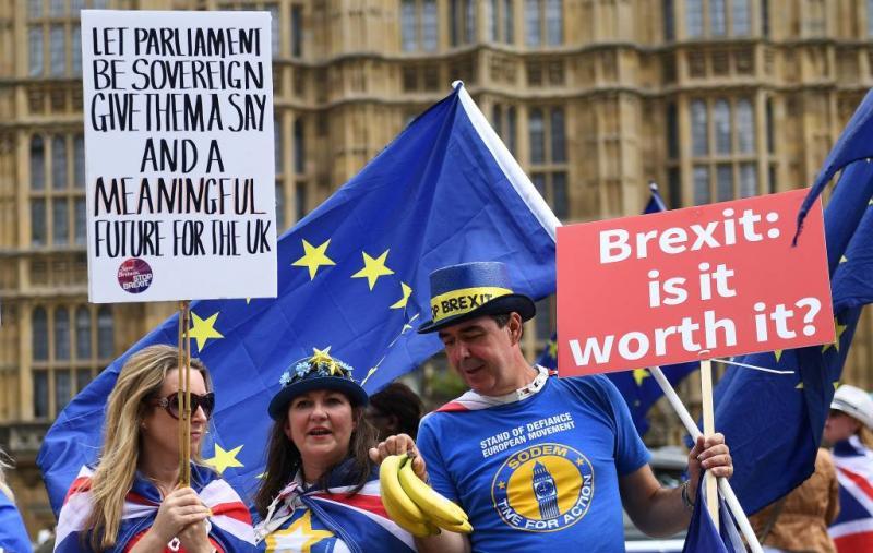 Protesten op verjaardag brexit-referendum