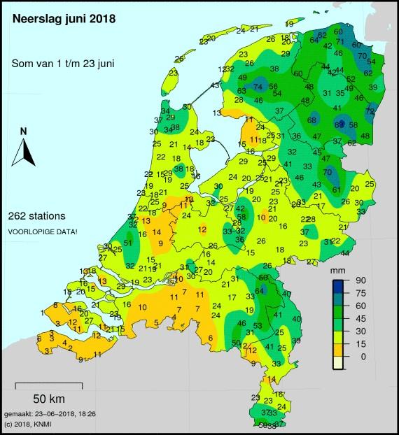 Droogste juni sinds 1962 (Kaart: Weeronline.nl)