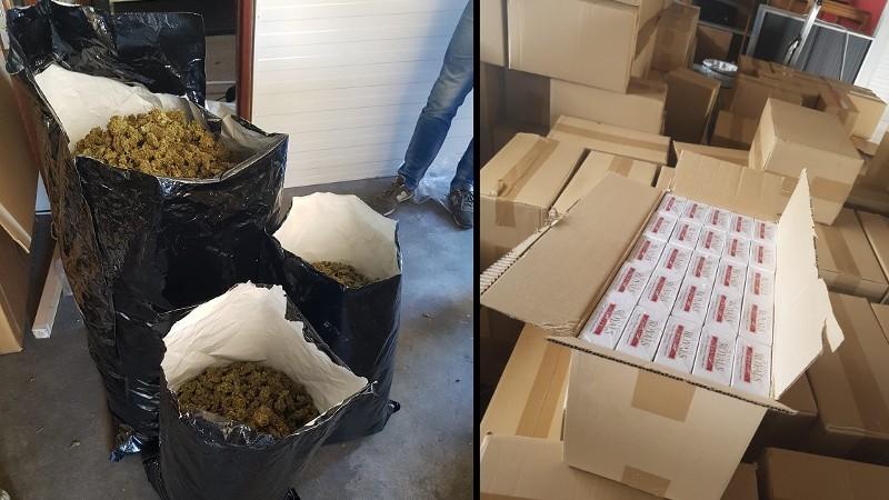 26 kilo hennep en miljoenen sigaretten in beslag genomen (Foto: politie.nl)