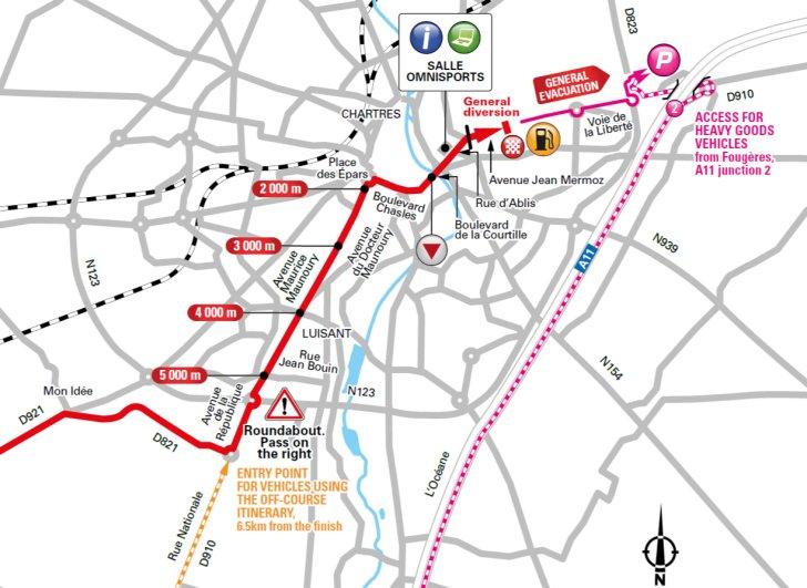 De slotkilometers van vandaag (Bron: Letour.fr)