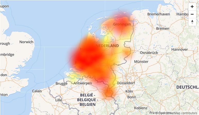 Landelijke storing Vodafone (Foto: allestoringen.nl)