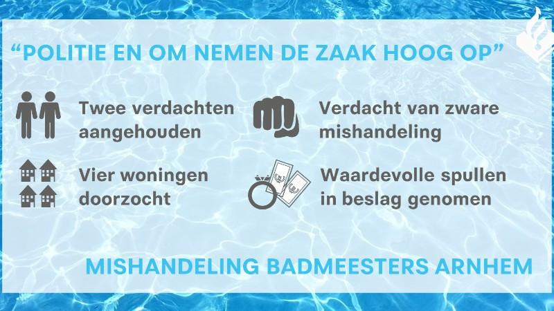 2 aanhoudingen om mishandeling badmeesters (infographic: politie.nl)
