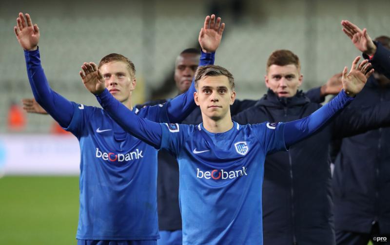 We zien hier de spelers van Krc Genk na de wedstrijd tegen Cercle Brugge, wat is hier gaande? (Pro Shots / Isosport)