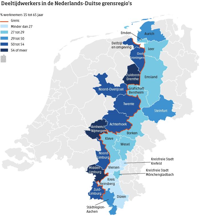 In grensregio's vaker deeltijdwerk dan bij Duitse buren