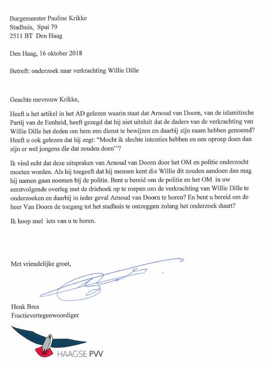Brief Henk Bres aan burgemeester Pauline Krikke (Foto: Fractie PVV Den Haag)