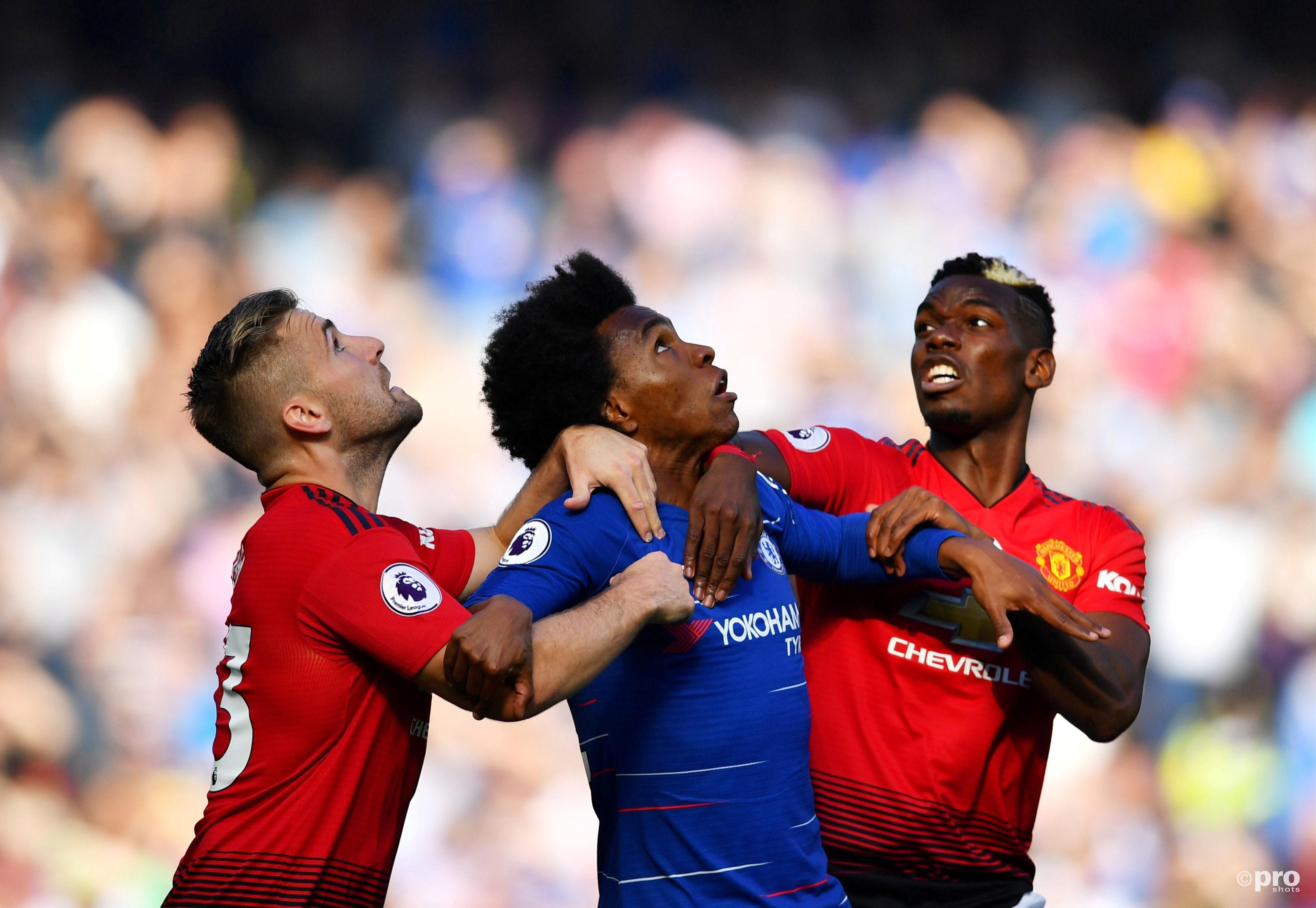 Chelsea speelt gelijk tegen Man United. (PRO SHOTS/Action Images)