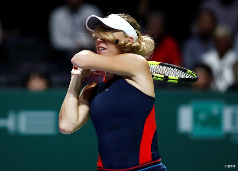 Caroline Wozniacki is haar zicht even tijdelijk kwijt tijdens haar wedstrijd Petra Kvitova, wat is een leuk onderschrift bij deze foto? (Pro Shots / Action Images)