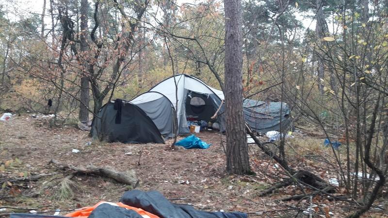 Illegaal tentenkamp in bossen ontruimd (Foto: Politie.nl)