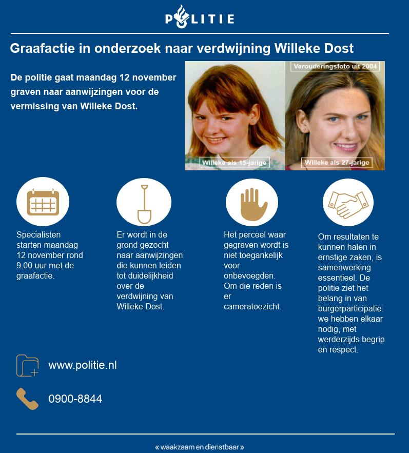 Politie gaat maandag graven naar Willeke Dost (Foto: Politie.nl)
