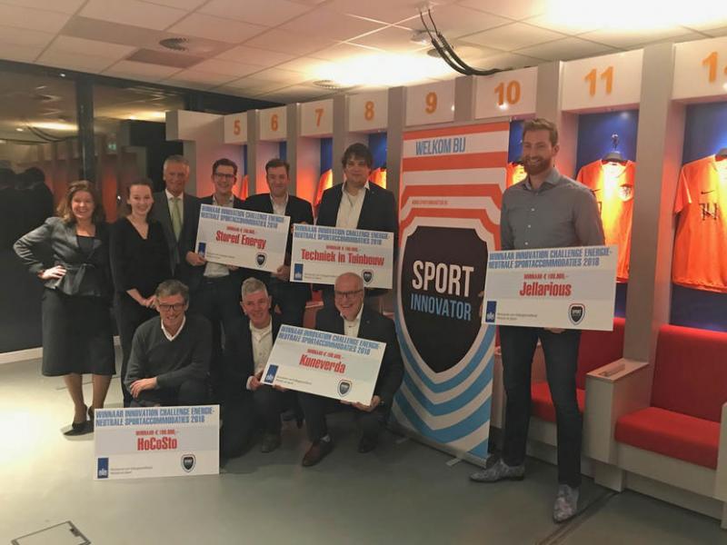 De 5 winnaars van de innovation challenge voor energieneutrale sportprojecten (Foto: ZonMW)