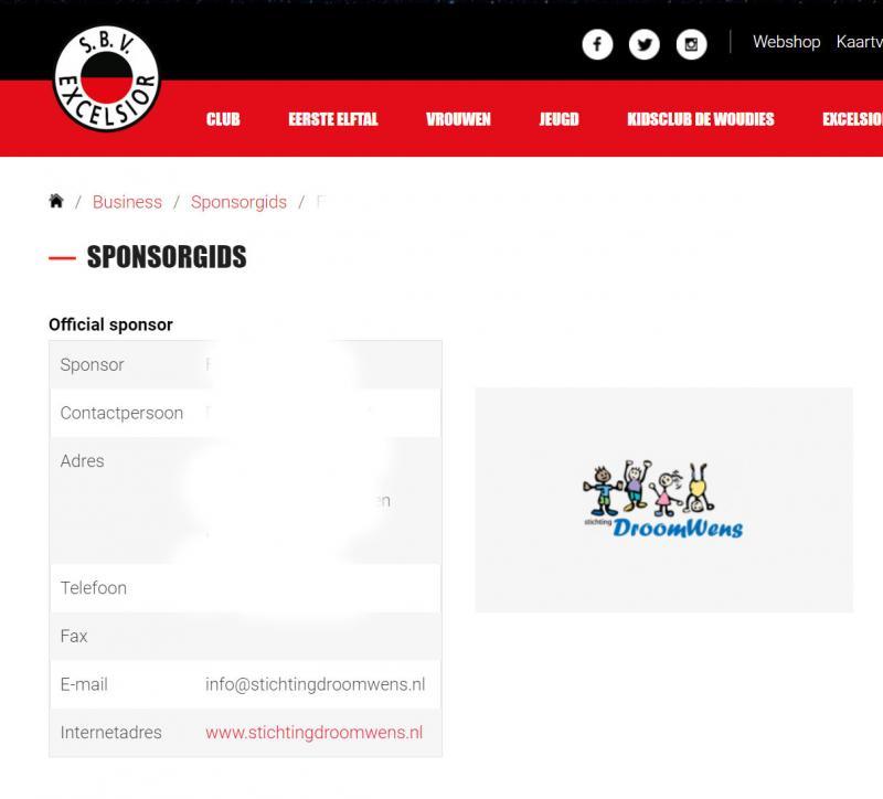 Stichting Droom Wens sponsor van voetbalclub Excelsior