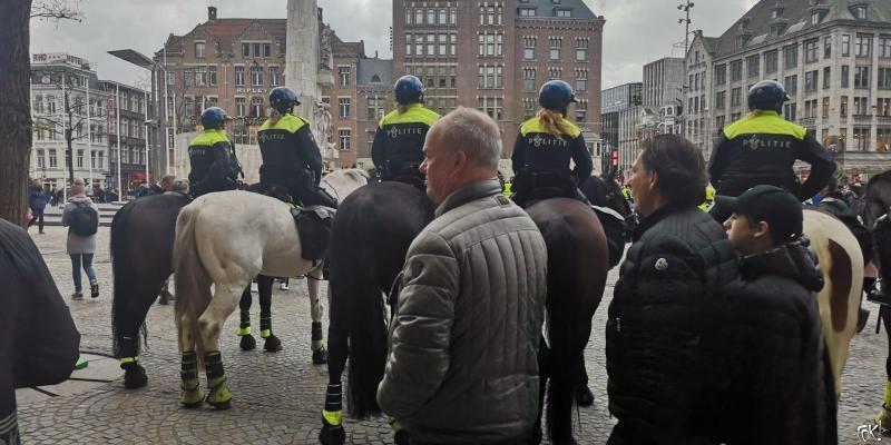 Gele hesjes op de Dam (Foto: FOK!)