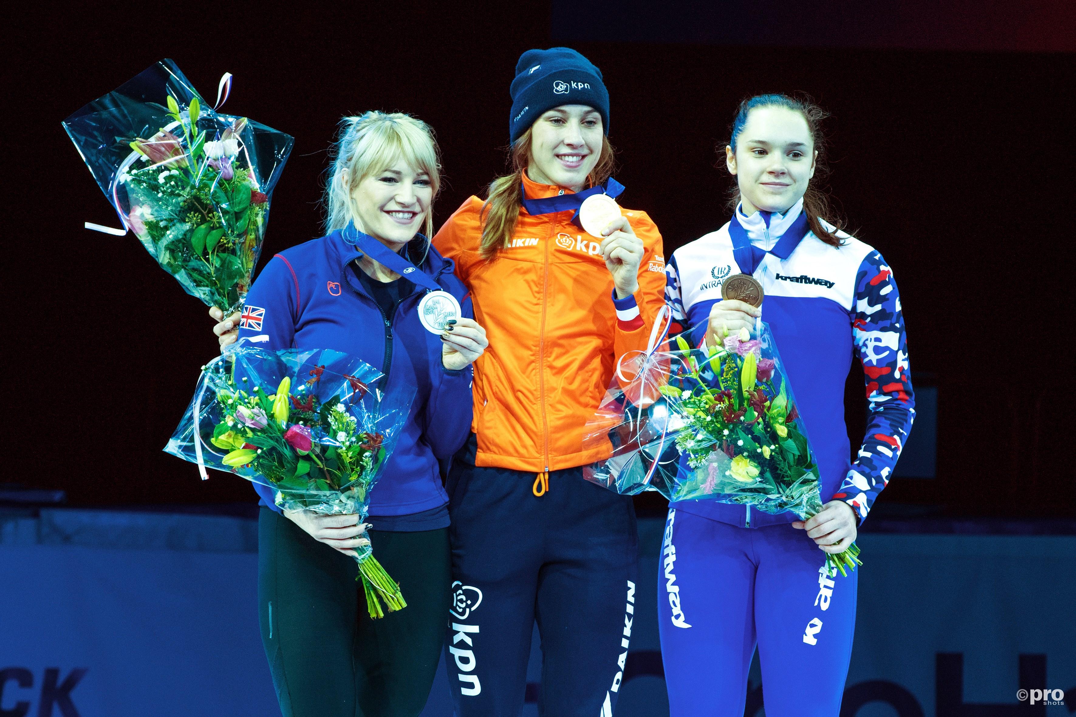 Suzanne Schulting kampioen op de 1000 meter. (PRO SHOTS/Ankie Hogewind)
