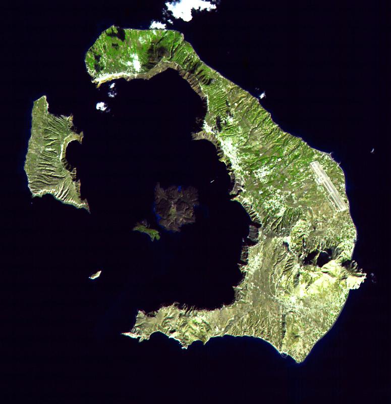 Satellietfoto van het huidige Santorini