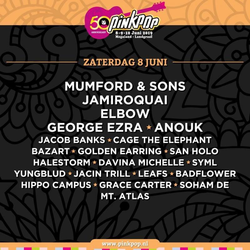 Pinkpop 2019: de line-up van zaterdag 8 juni