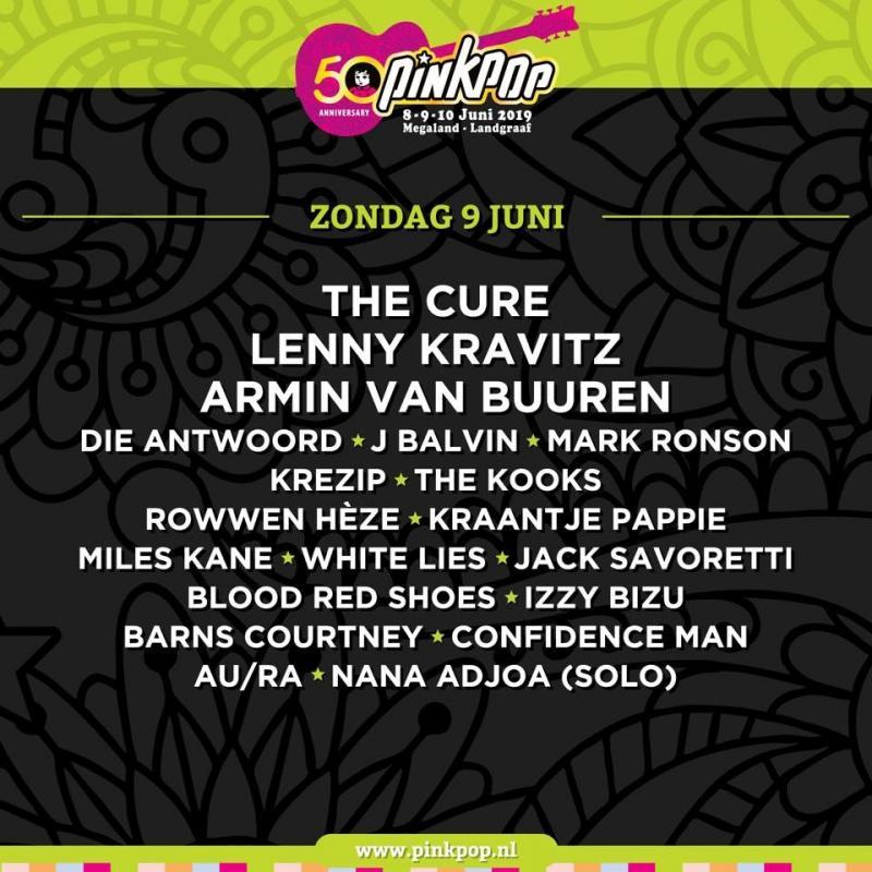 Pinkpop 2019: de line-up van zondag 9 juni